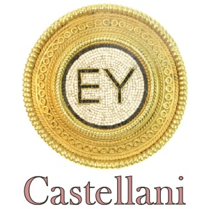 Micro mosaic gold brooch with filigrain by Castellani